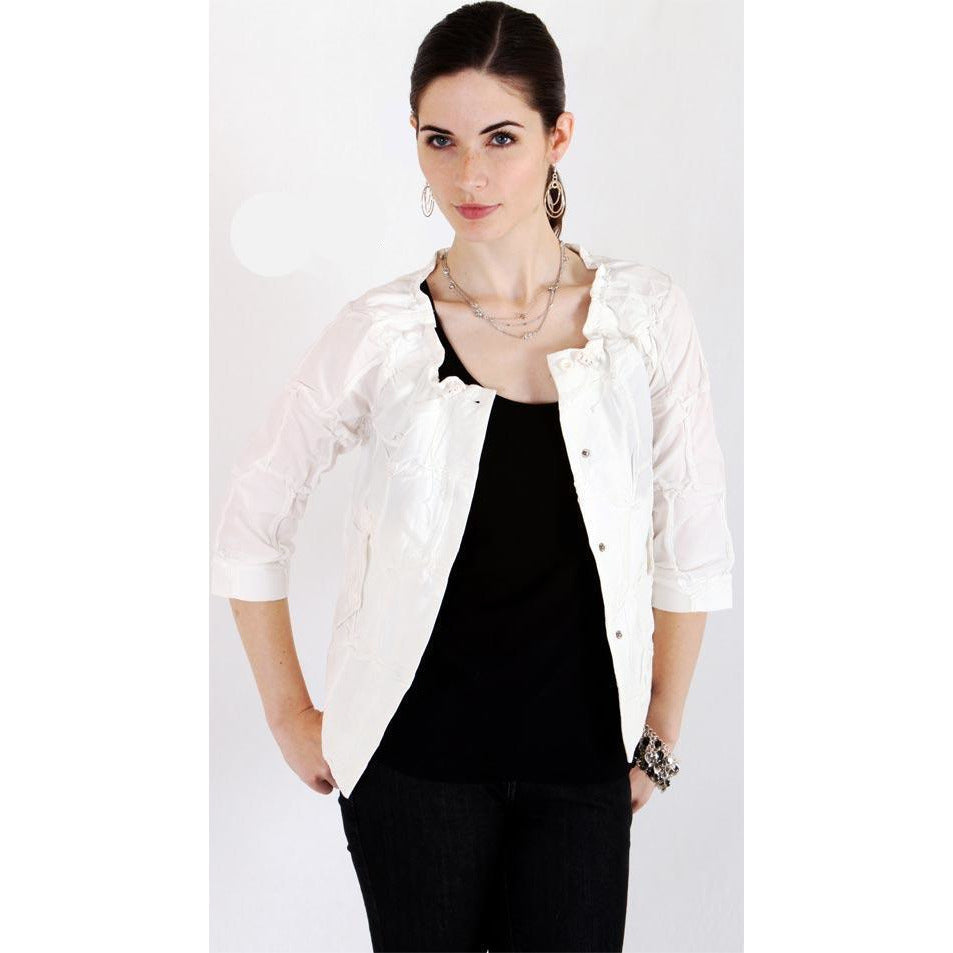 Toggle Crinkle Jacket - White