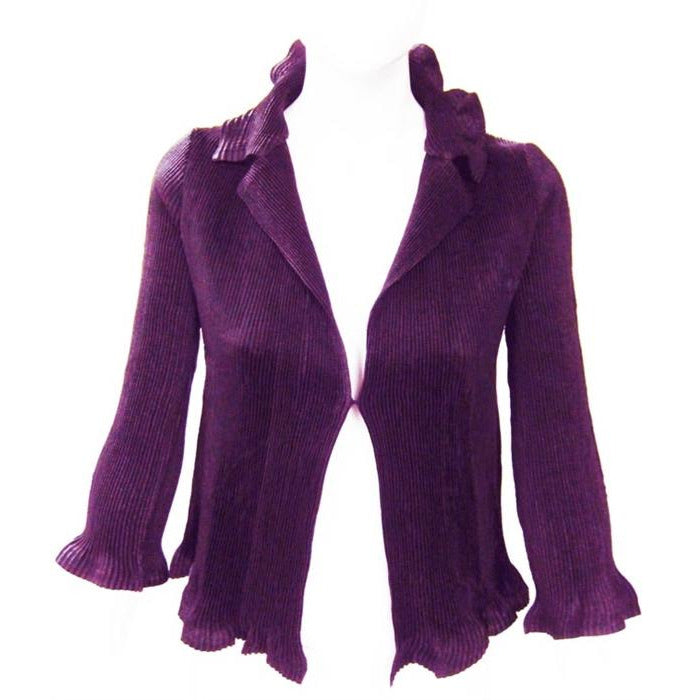 Solid Ruffle Crinkle Jacket - Purple