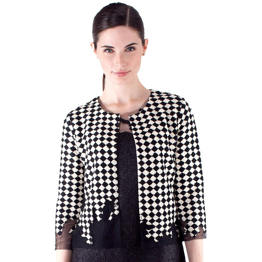 Illusion Tulle Crinkle Jacket - Black and White