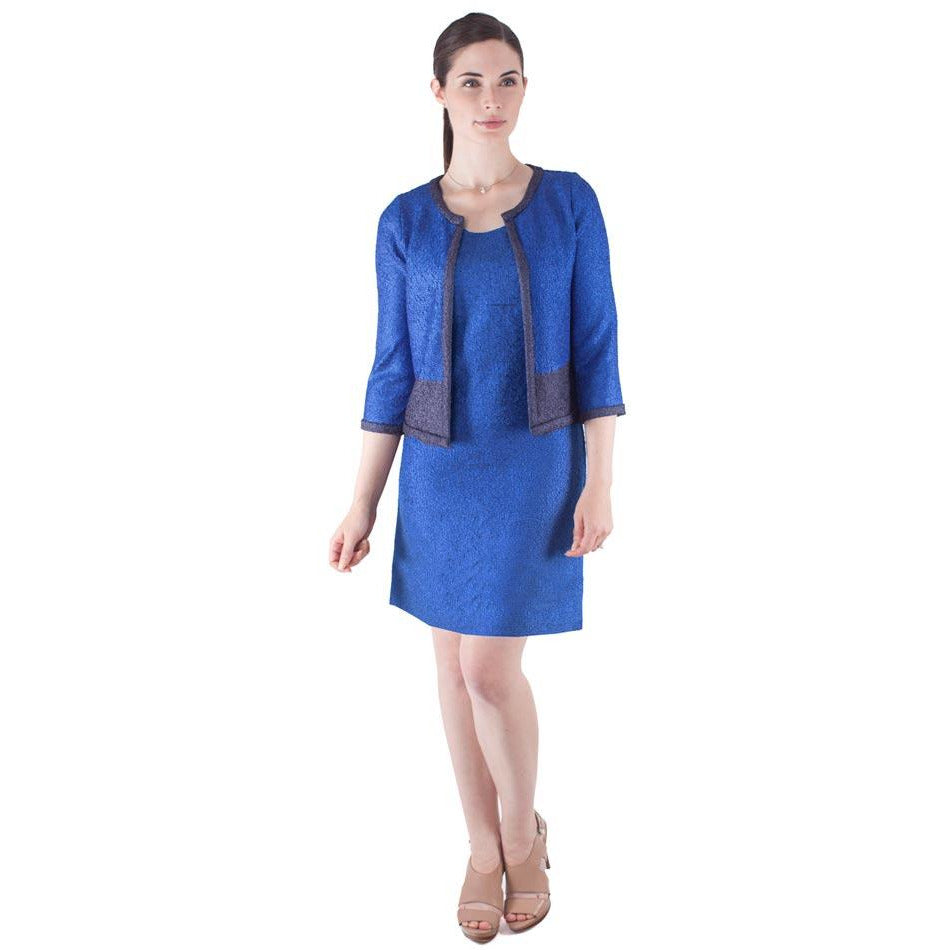 Two Tone Crinkle Jacket - Sapphire Blue