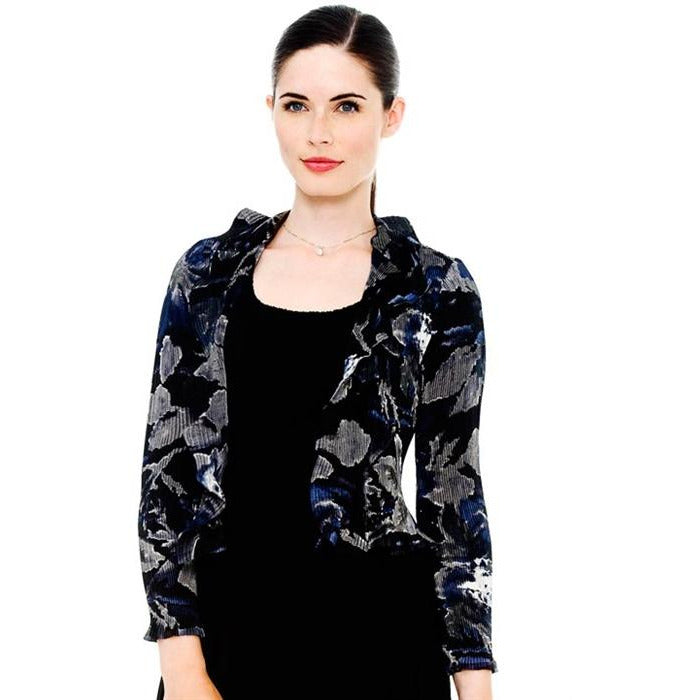 Ruffle Floral Print Jacket - Blue