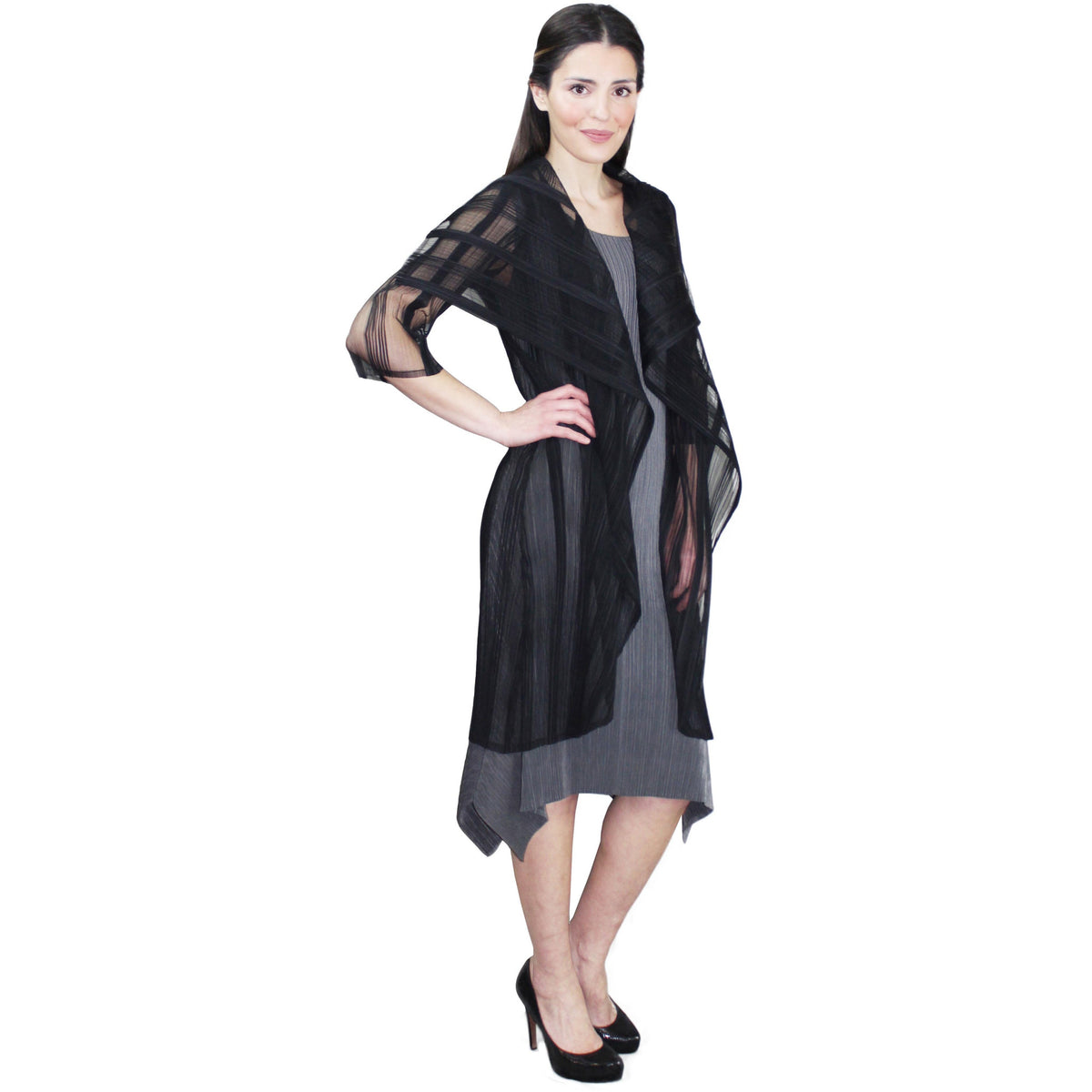 Long Illusion Crinkle Jacket - Black
