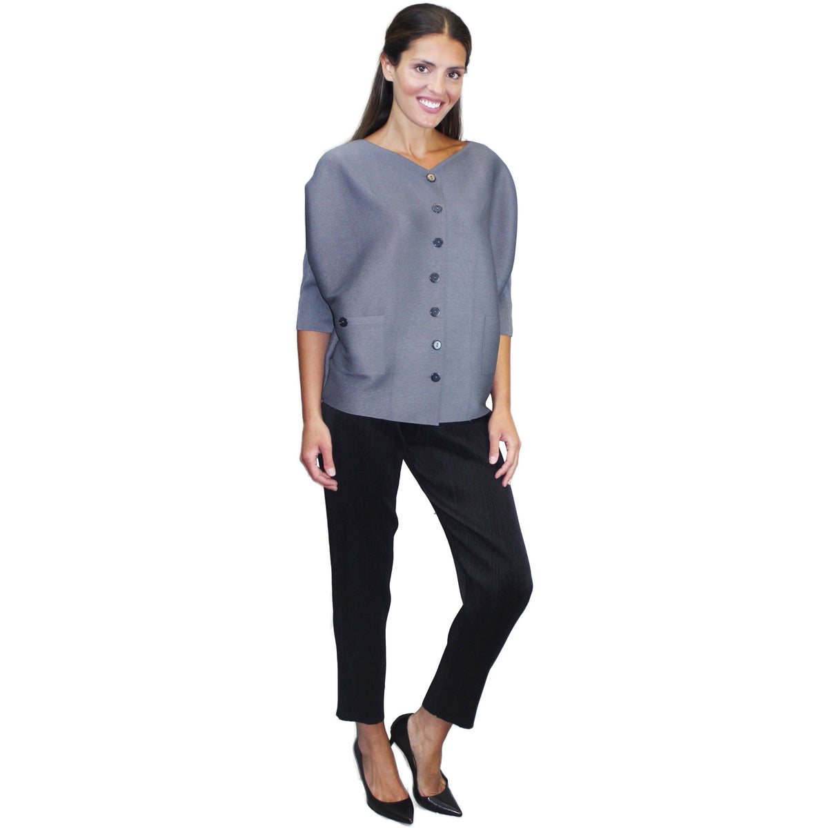 Button Front Crinkle Jacket - Gray