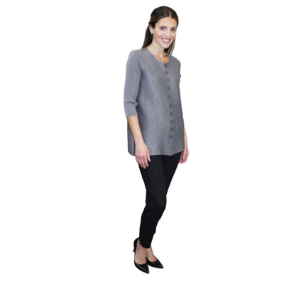 Button Crinkle Jacket - Gray