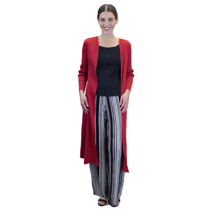 Long Crinkle Coat - Red