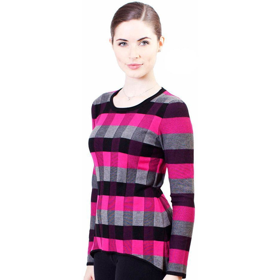 Checkered Knit Top - Pink