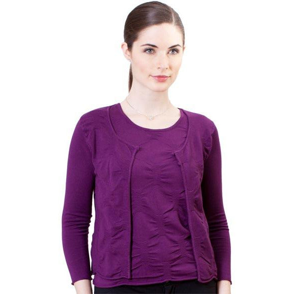 1-Pinched Crinkle Knit Cardigan - Plum