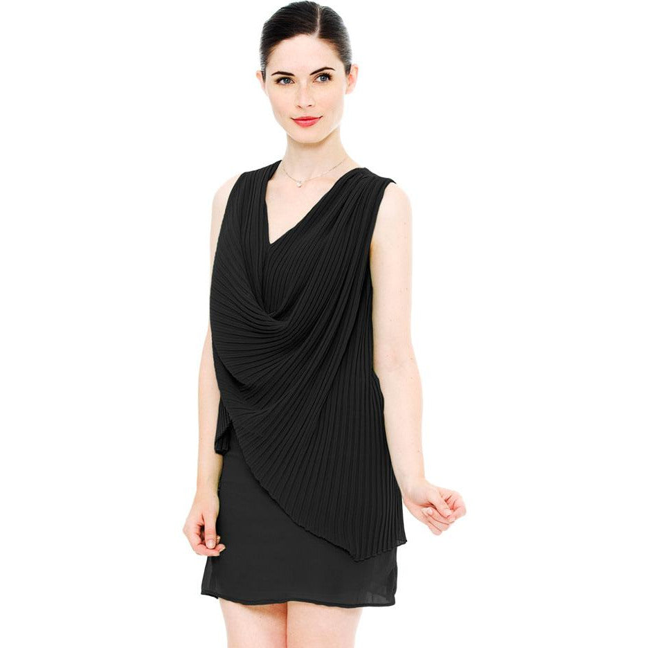 Draped Pleated Chiffon Mini Crinkle Dress - Black
