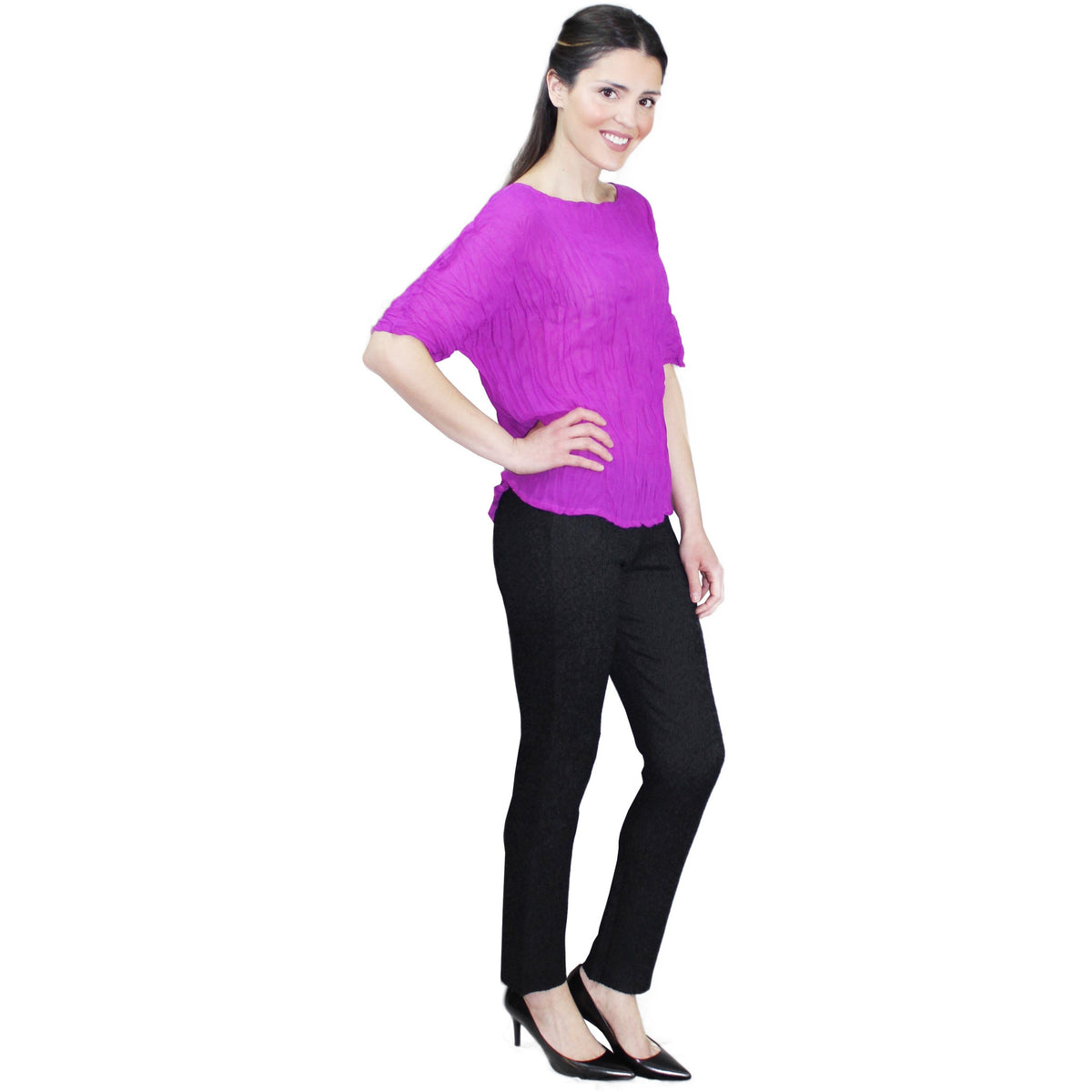 High Neck Chiffon Crinkle Top - Purple
