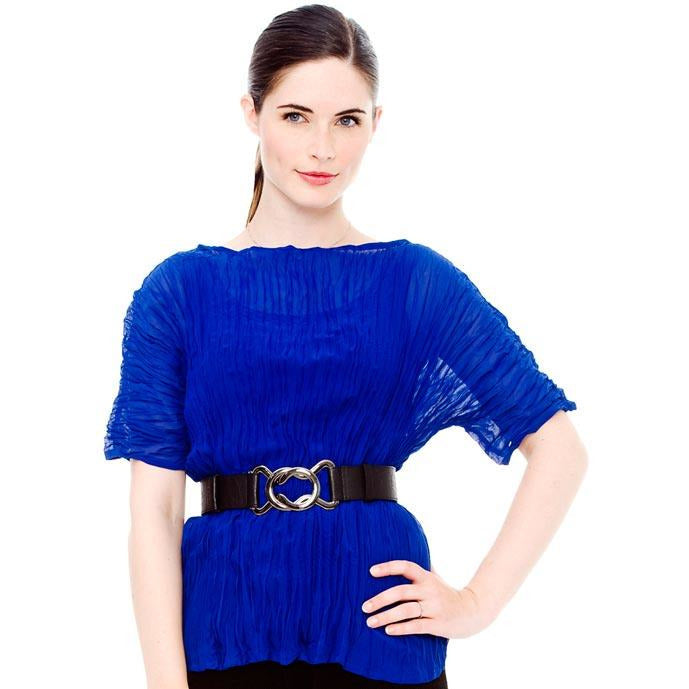 High Neck Chiffon Crinkle Top - Sapphire Blue