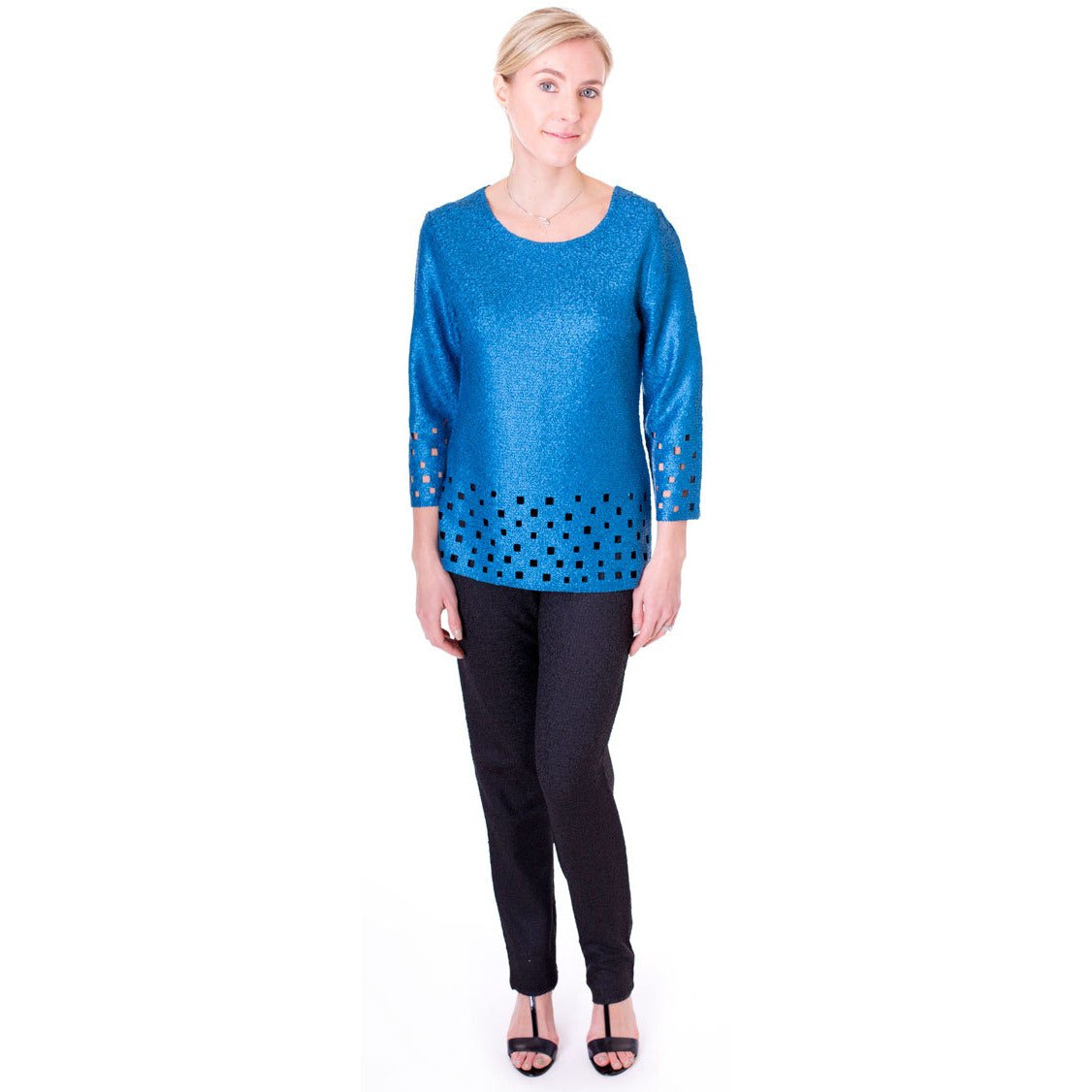 Geometric Laser Cut Crinkle Top - Teal