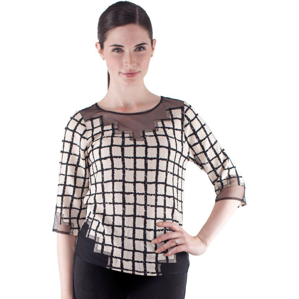 Geometric Tulle Illusion Crinkle Top - Black and White