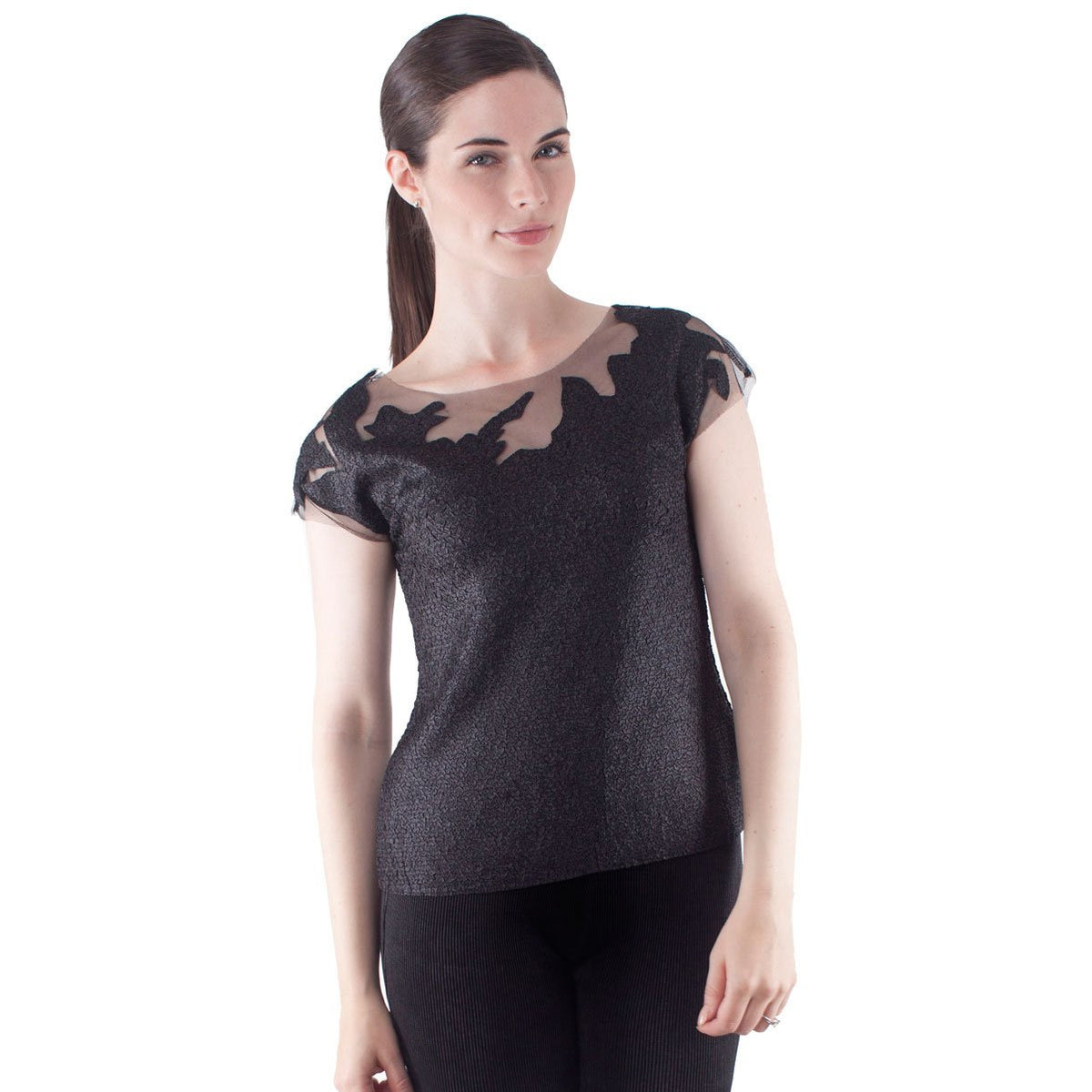 Cap Sleeve Tulle Illusion Top - Black