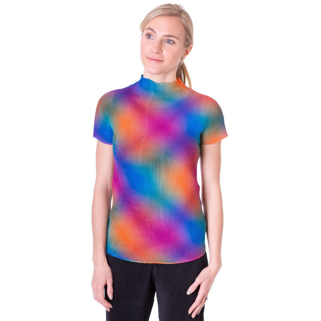 High Neck Short Sleeve Crinkle Top - Rainbow