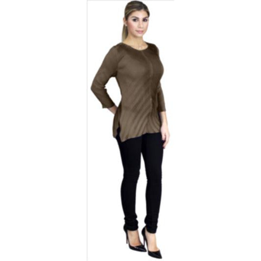 3/4 Sleeve Origami Crinkle Top - Tan