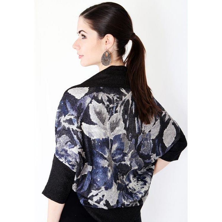 Dolman Sleeve Printed Shrug - Blue