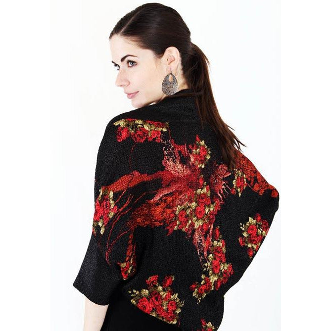 Dolman Sleeve Printed Shrug - Red