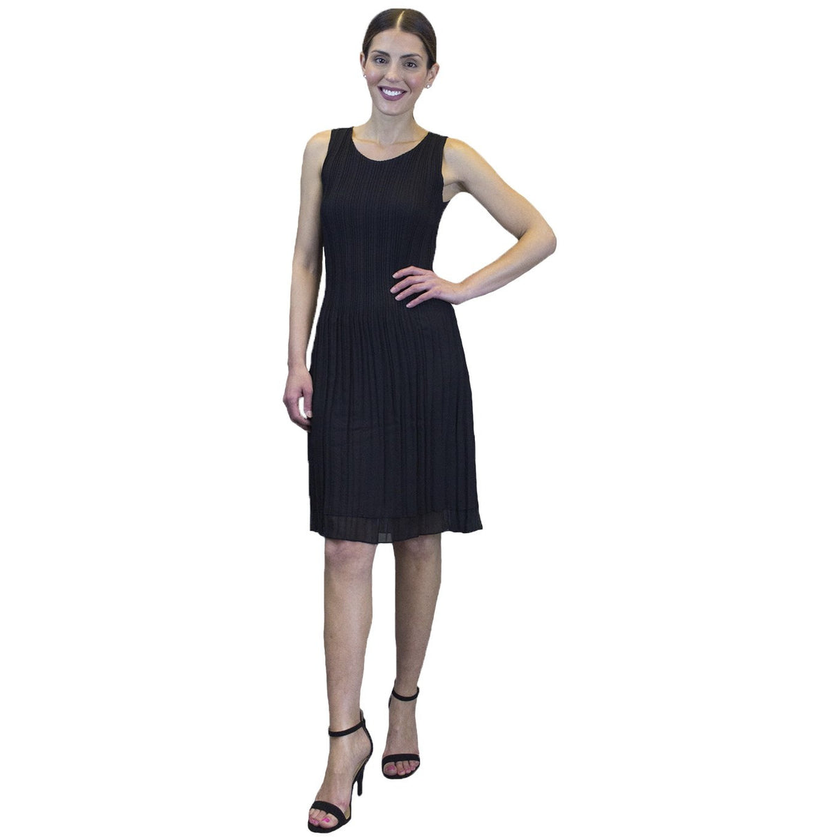 Pleated Bodice Crinkle Dress - Black