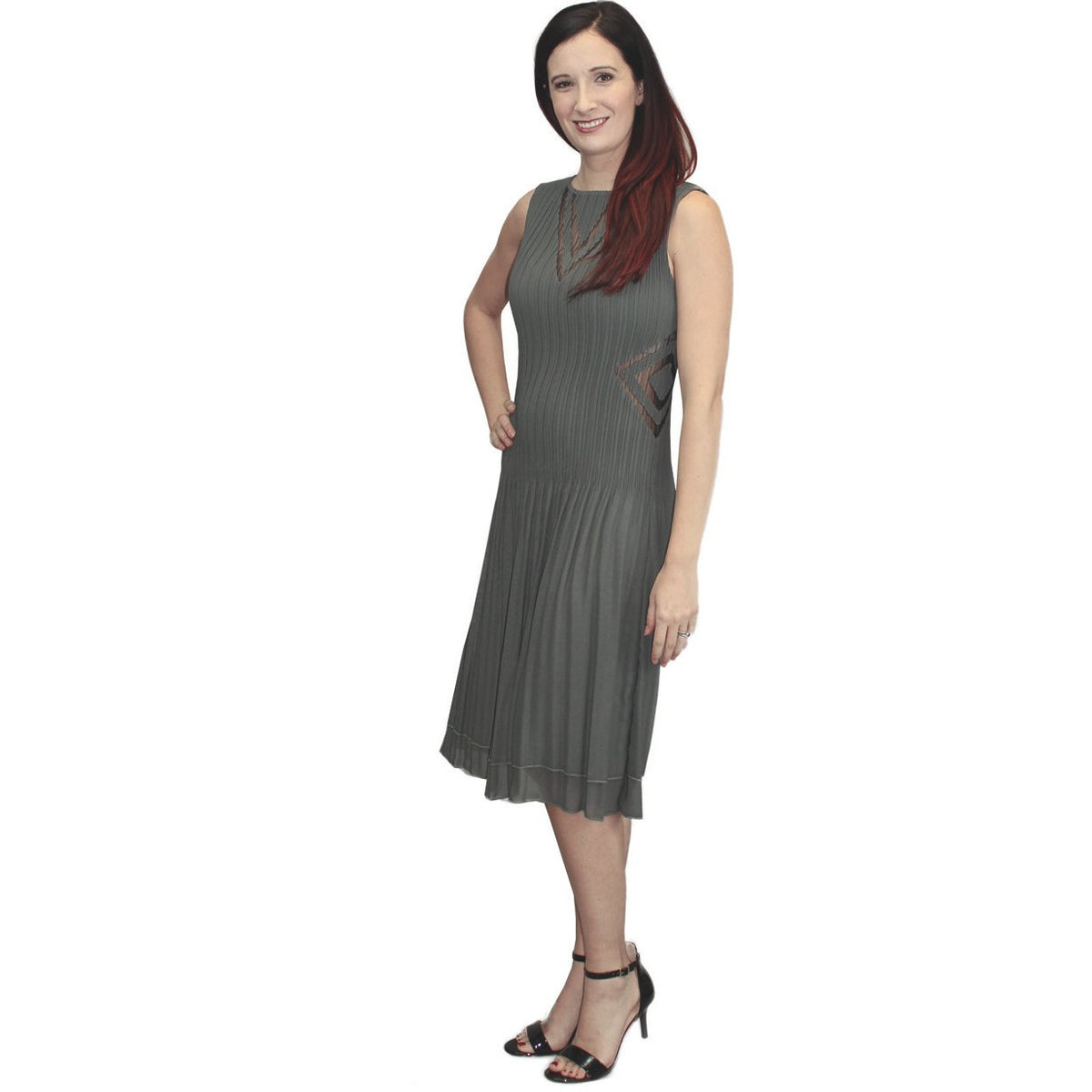Illusion V Neck Crinkle Dress - Gray