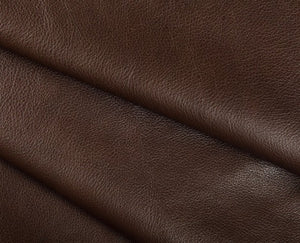 brown full grain semi aniline tanned cowhide leather