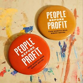 People Before Profit buttons by Happyland Print Shop