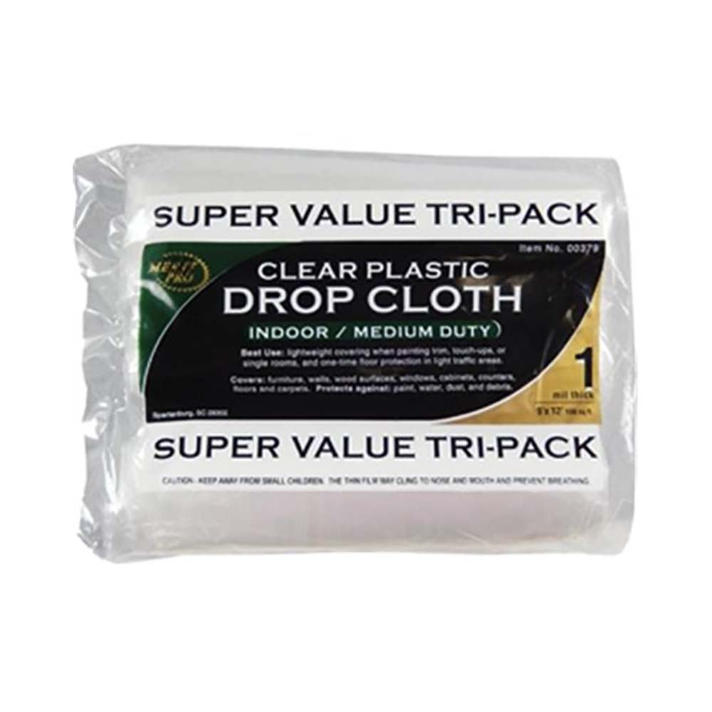 Clear Plastic Drop Rolled (3 Pack)