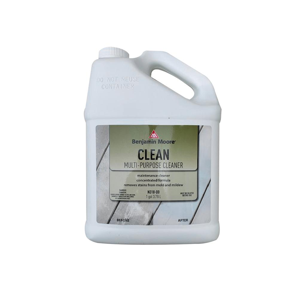 Benjamin Moore clean multi purpose exterior wood cleaner, available at store name.