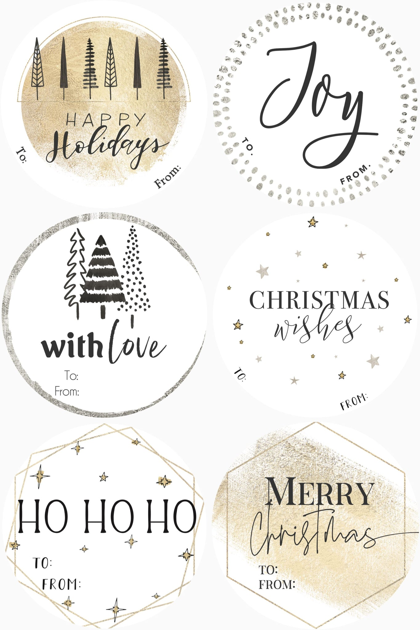 CHRISTMAS LABELS GOLD/SILVER - 12 LABELS