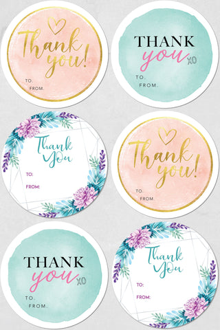 MIXED THANK YOU - 6 LABELS