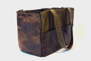 Leather and waxed canvas Carrier