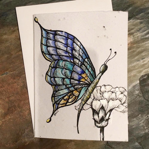 Plantable Cards: Butterfly and Shells-Handpainted