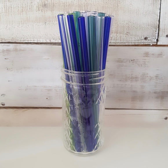 Straw-Glass in Blue, Teal or Clear