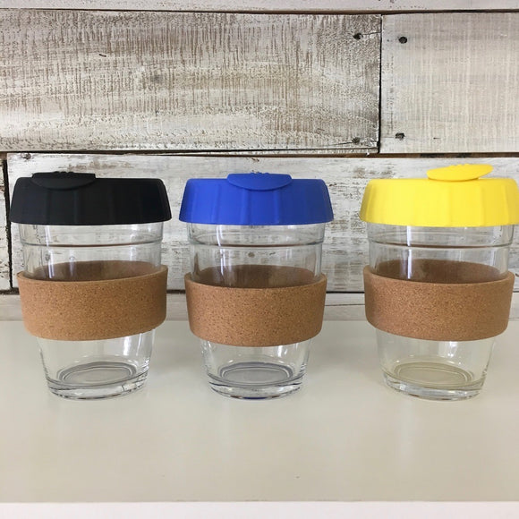 Glass with Silicone Lid and Cork, 12oz