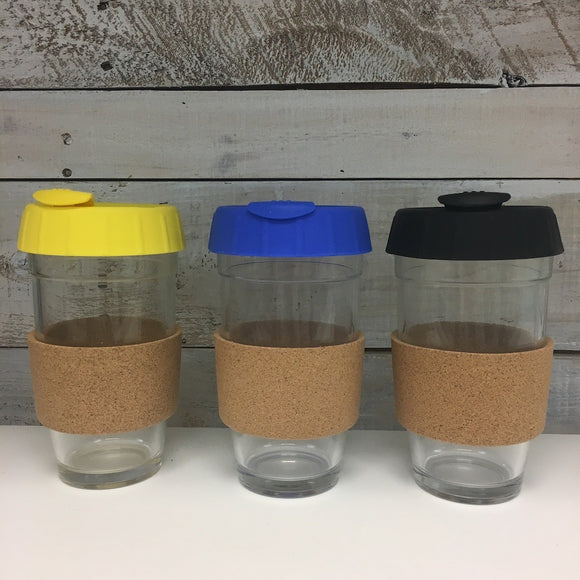 Glass with Silicone Lid and Cork, 16oz