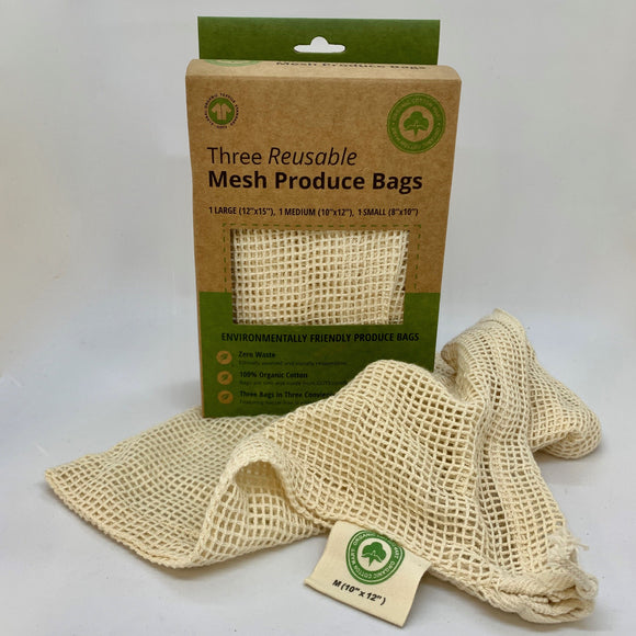 Produce Bags, Cotton, 3 Size Pack