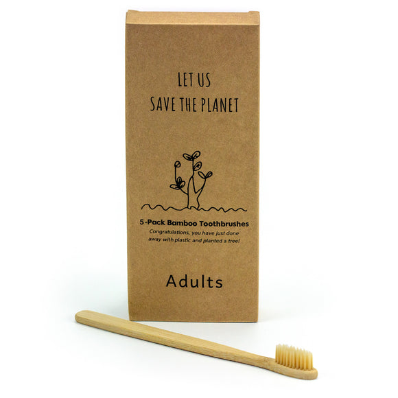 Bamboo Toothbrushes, 5 pack