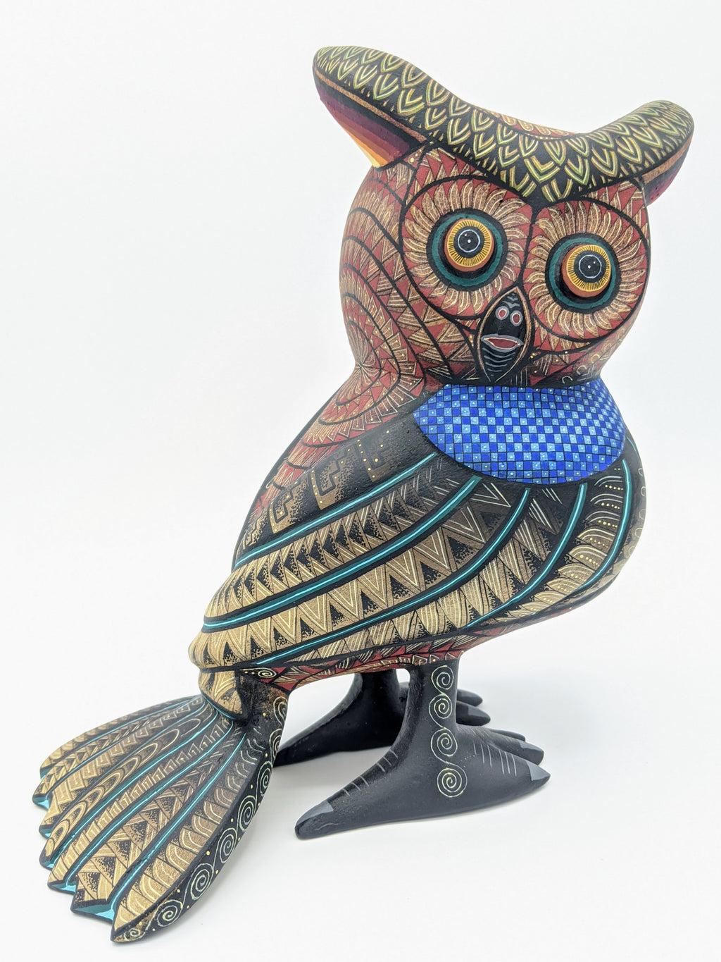 Handmade Oaxacan Alebrije Buho - Owl by Nestor and Leticia Melchor Red, Blue, Yellow