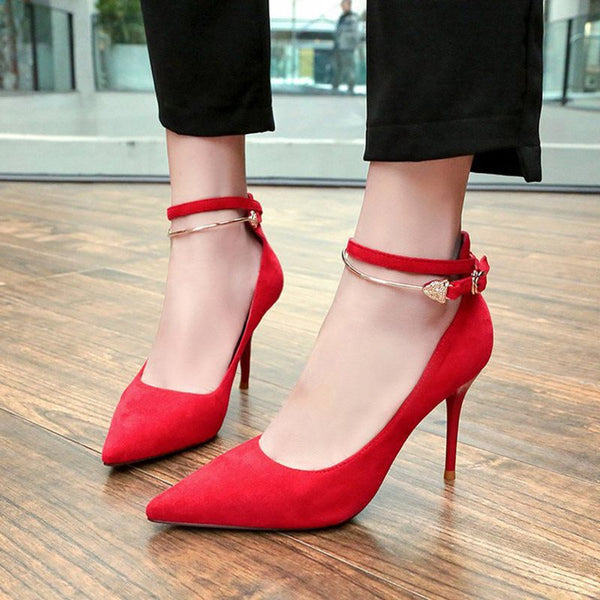 Pointed Toe Line-Style Buckle Stiletto Heel Plain Casual Thin Shoes