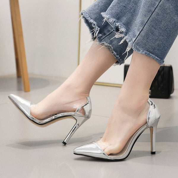 Pointed Toe Slip-On Stiletto Heel Patchwork Low-Cut Upper Thin Shoes