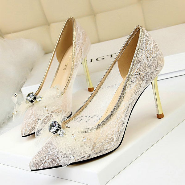 Stiletto Heel Pointed Toe Lace Slip-On Banquet Low-Cut Upper Thin Shoes