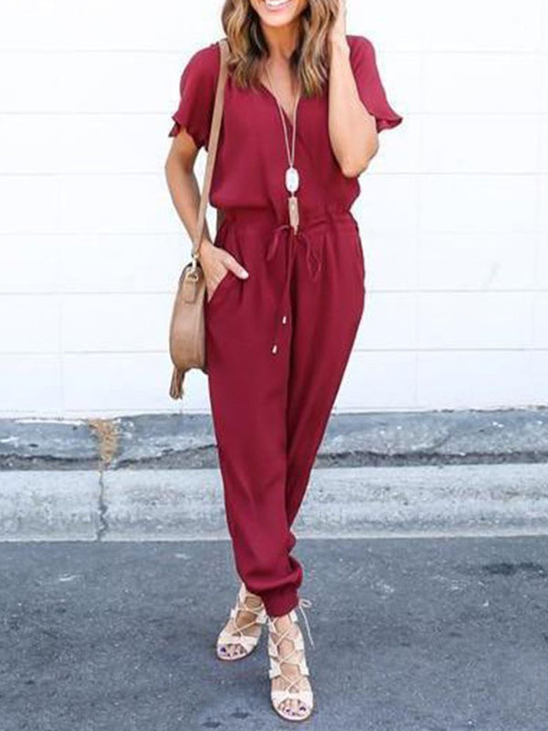 Full Length Casual Lace-Up Harem Pants Slim Jumpsuit