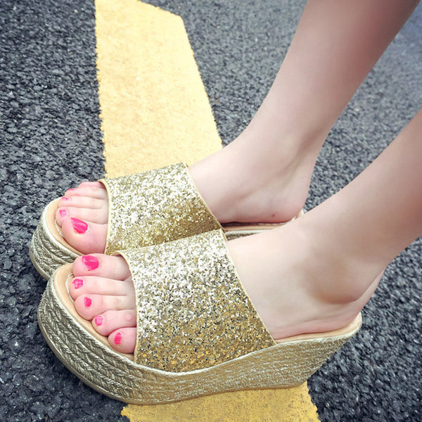 Ladies glitter sandals wedge sandals easy to walk