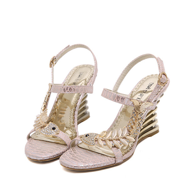 New fish pattern pretty eyes fashionable sandals wedge sandals