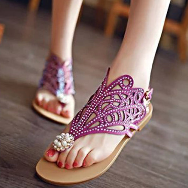 Ladies Fashionable Rhinestone Tongue Flat Sandals With Pearls