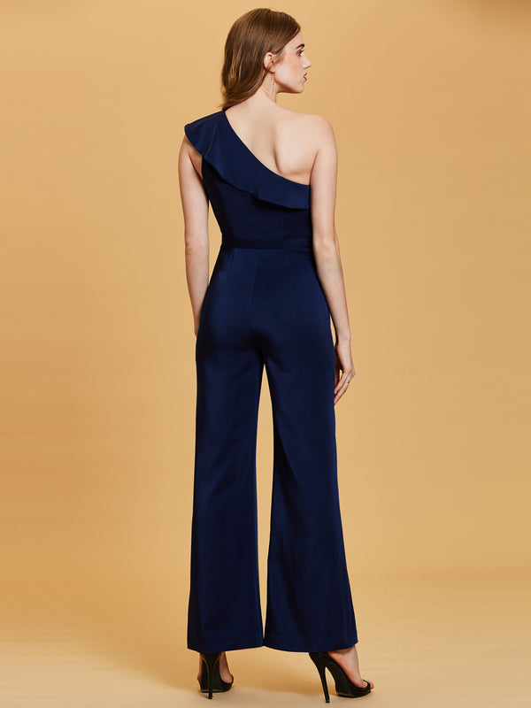 One Shoulder Beading Flouncy Jumpsuits
