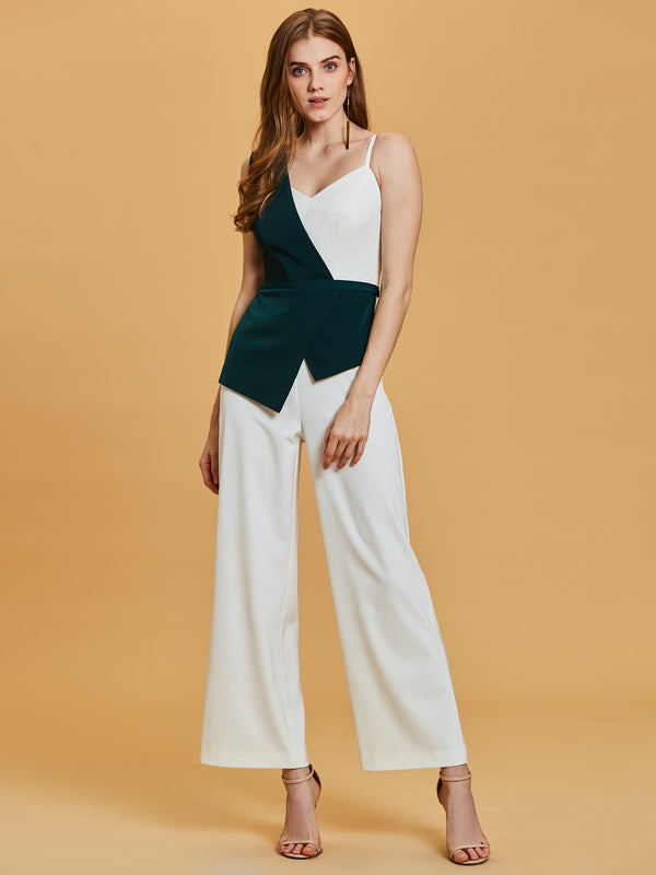 One Shoulder Contrast Color Ankle-Length Jumpsuits