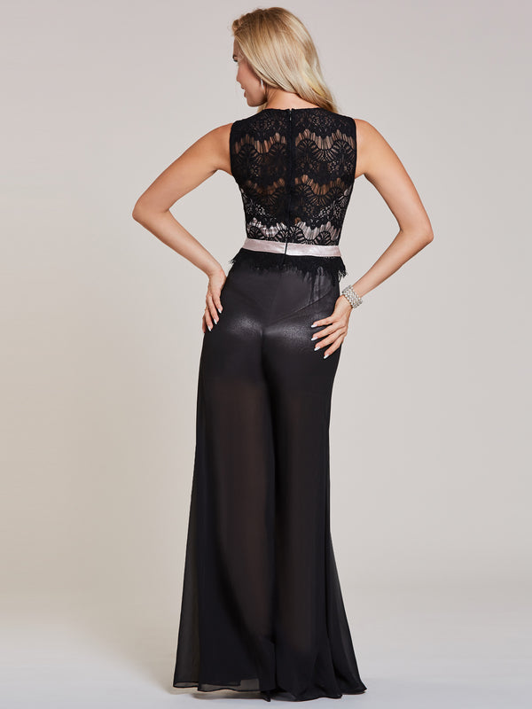 Scoop Neck Lace Black Jumpsuits