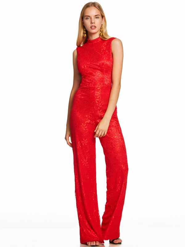 High Neck Backless Lace Jumpsuits