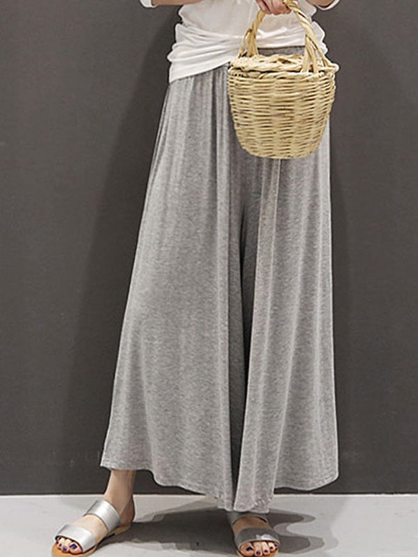 Loose Plain Full Length Wide Legs Casual Pants