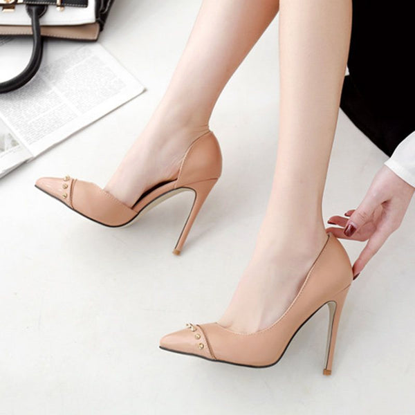 Stiletto Heel Rivet Pointed Toe Slip-On Casual Plain Thin Shoes